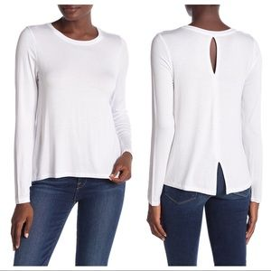 NWT Halogen Back Vent Long Sleeve Tee White